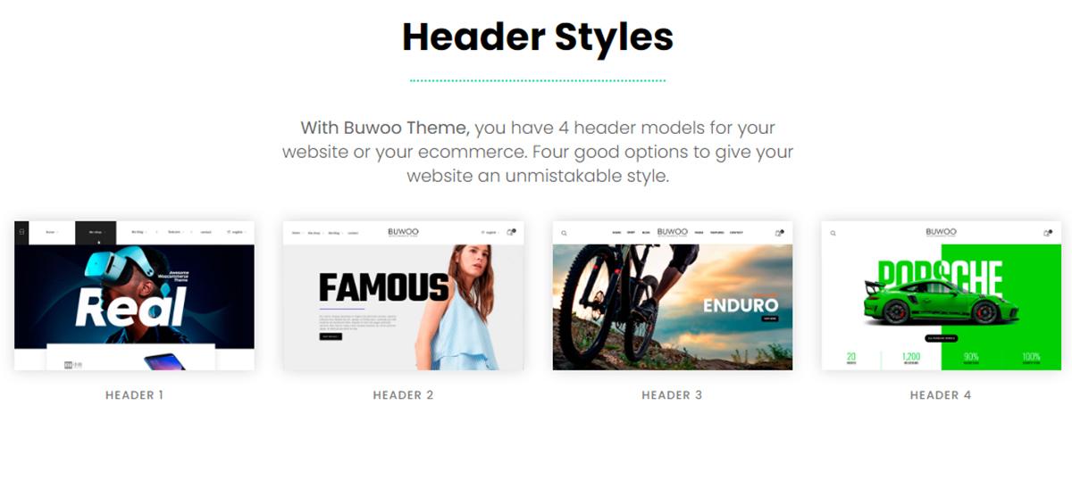 headers styles for website