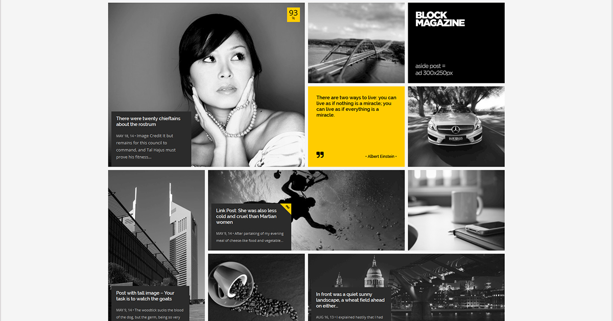 Solid blocks web design helps to scan the information easily