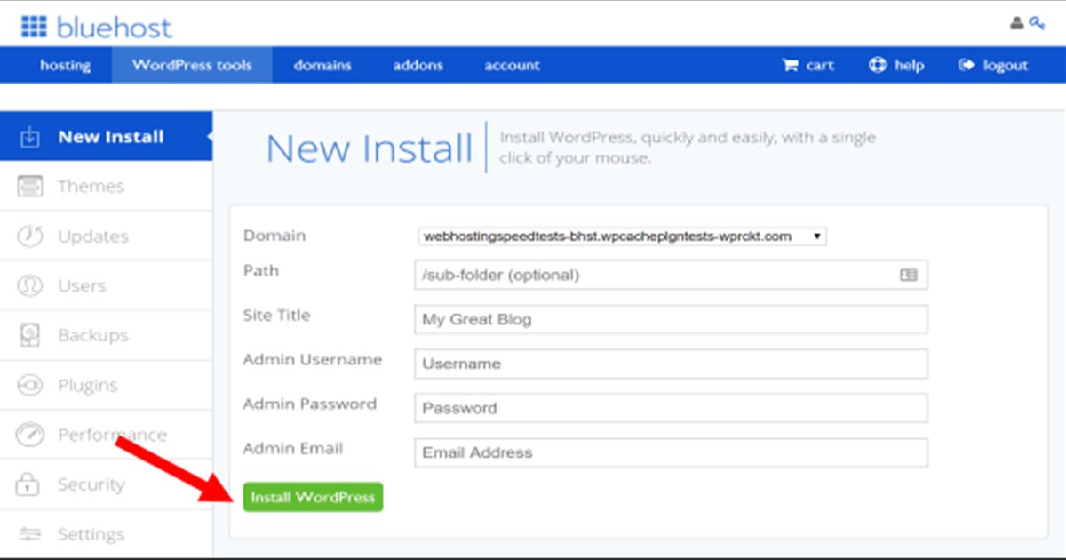 Installing WordPress from Bluehost