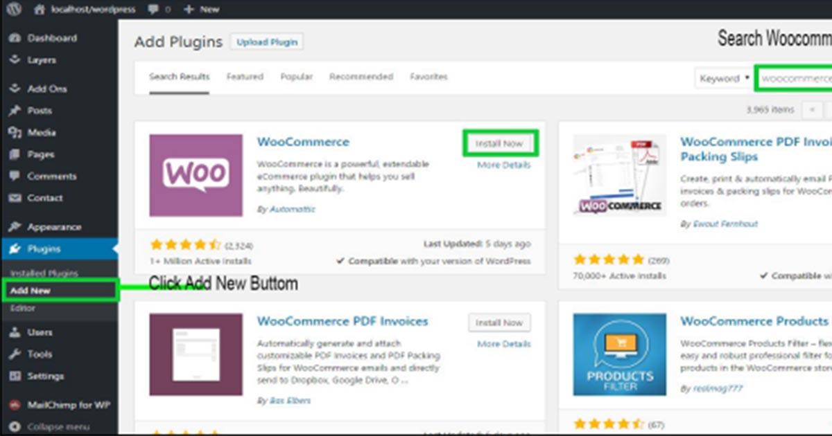 Intalling of WooCommerce plugin for eCommerce setup
