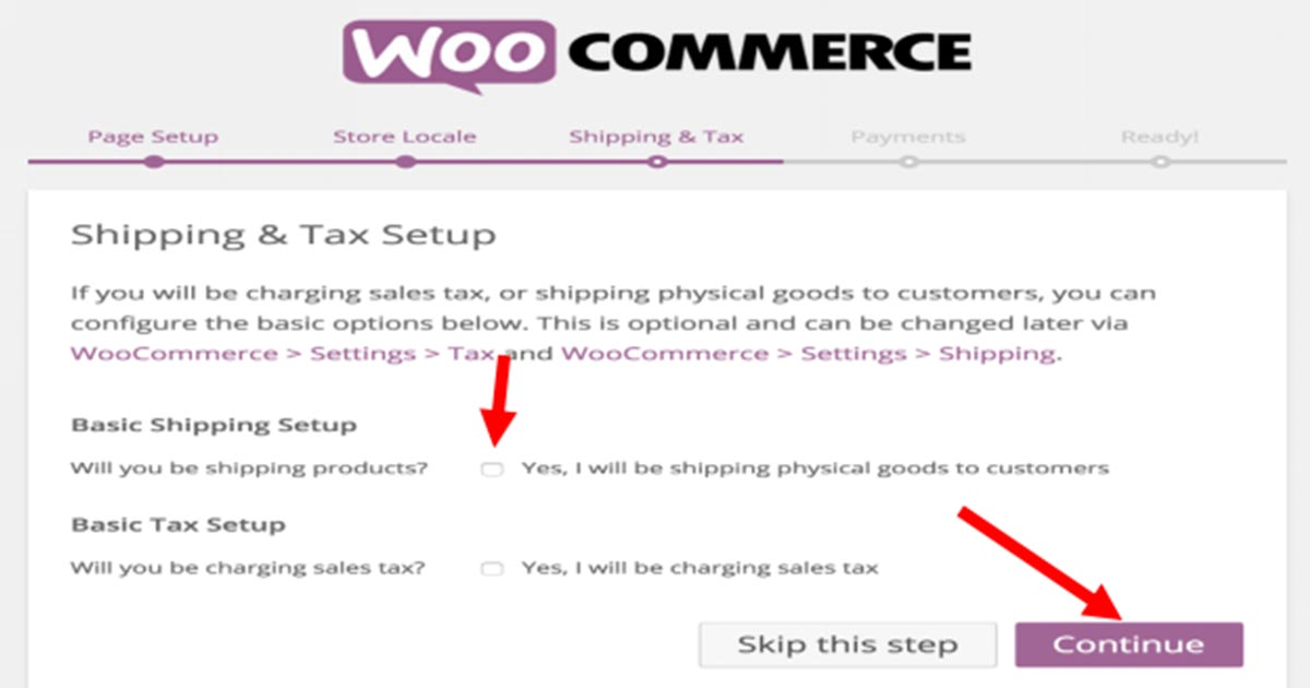 shipping and tax setup check required for eCommerce store