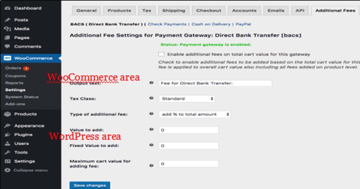 WooCommerce and WordPress dashboard settings for eCommerce store