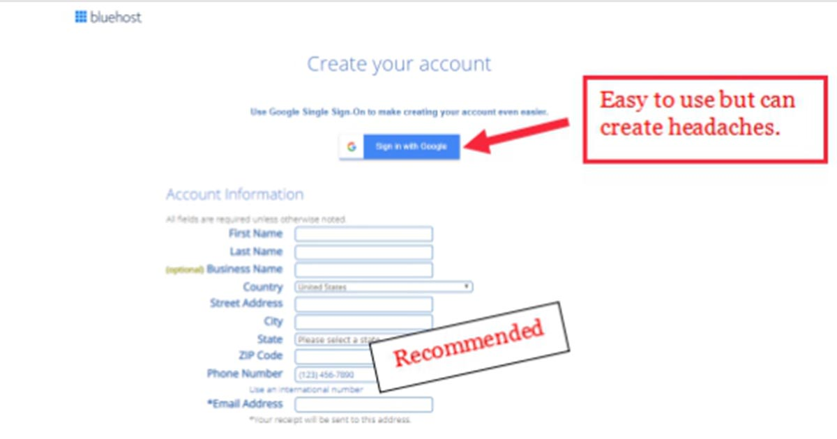 entering account details