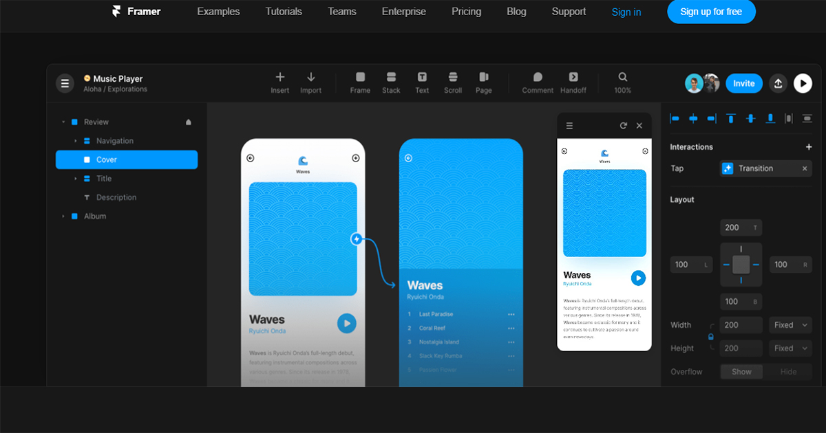 This shows the prototyping tool for web design