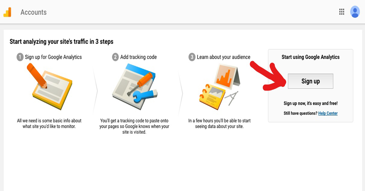 image showing how you can access google analytics