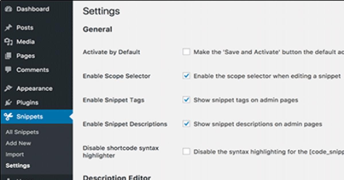 code snippet settings
